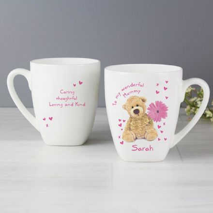 Personalised Teddy Flower Latte Mug